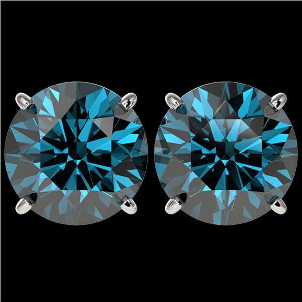 5 ctw Certified Intense Blue Diamond Stud Earrings 10k White Gold - REF-638A2N