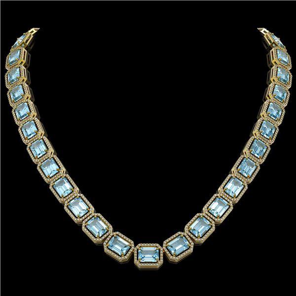 78.34 ctw Sky Topaz & Diamond Micro Pave Halo Necklace 10k Yellow Gold - REF-712N5F