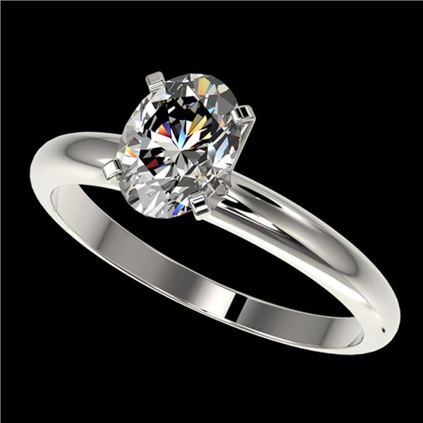 1.25 ctw Certified VS/SI Quality Oval Diamond Ring 10k White Gold - REF-303G4W
