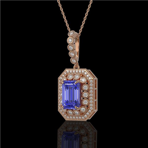 6.05 ctw Tanzanite & Diamond Victorian Necklace 14K Rose Gold - REF-309W3H