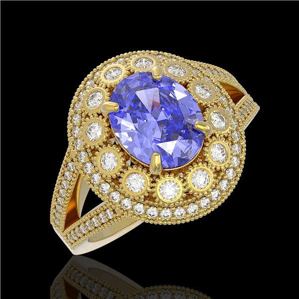 4.76 ctw Certified Tanzanite & Diamond Victorian Ring 14K Yellow Gold - REF-178W5H