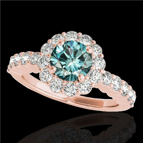 1.75 ctw SI Certified Fancy Blue Diamond Halo Ring 10k Rose Gold - REF-163H6R
