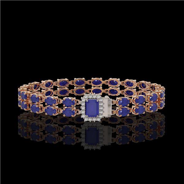 19.07 ctw Sapphire & Diamond Bracelet 14K Rose Gold - REF-236W4H