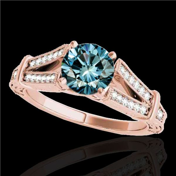 1.25 ctw SI Certified Blue Diamond Solitaire Antique Ring 10k Rose Gold - REF-129X5A