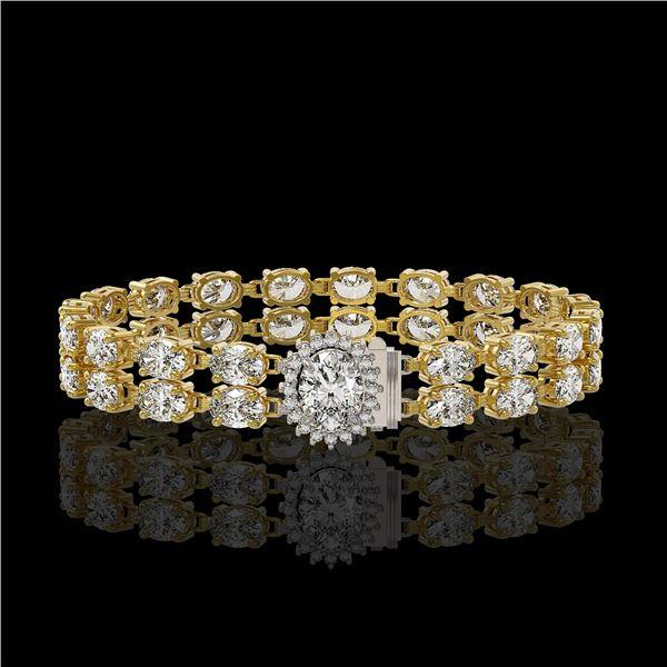 13.54 ctw Oval Diamond Bracelet 18K Yellow Gold - REF-1529G6W