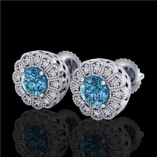 1.32 ctw Fancy Intense Blue Diamond Art Deco Earrings 18k White Gold - REF-178N2F
