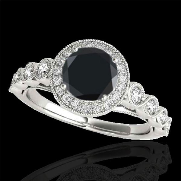 1.93 ctw Certified VS Black Diamond Solitaire Halo Ring 10k White Gold - REF-59Y2X