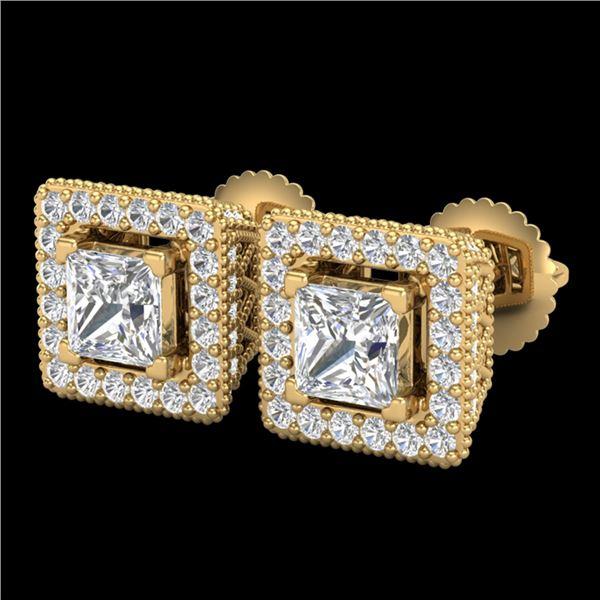 2.25 ctw Princess VS/SI Diamond Micro Pave Stud Earrings 18k Yellow Gold - REF-272Y8X