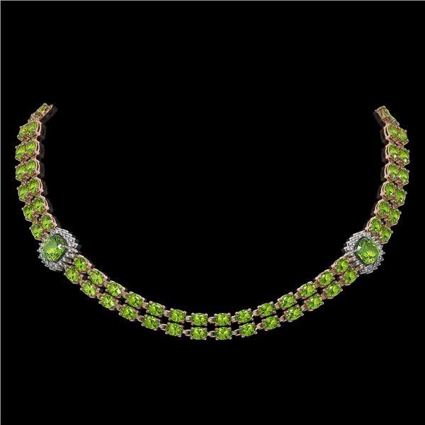 38.37 ctw Peridot & Diamond Necklace 14K Rose Gold - REF-527N3F