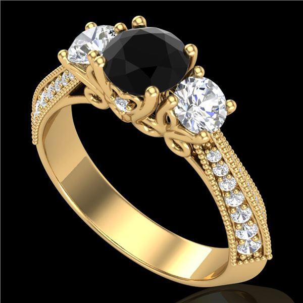 1.81 ctw Fancy Black Diamond Art Deco 3 Stone Ring 18k Yellow Gold - REF-180F2M