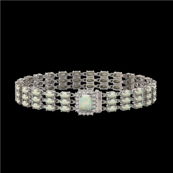 20.23 ctw Opal & Diamond Bracelet 14K White Gold - REF-318Y2X