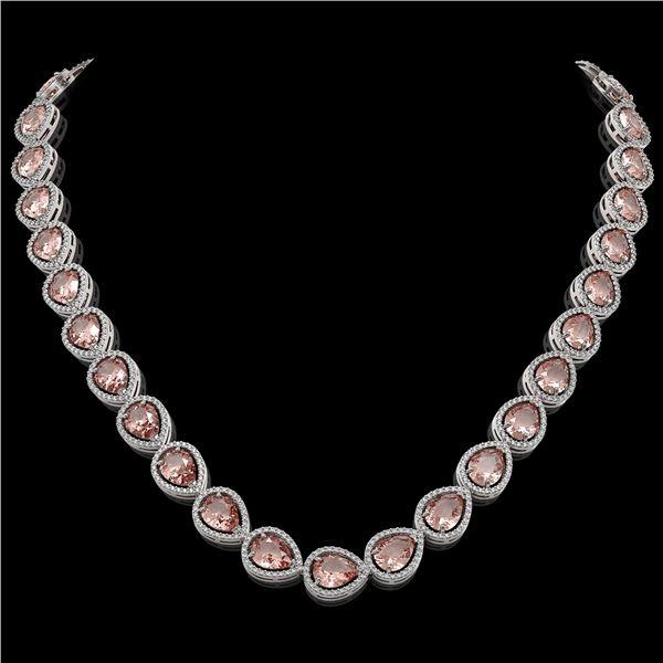 41.6 ctw Morganite & Diamond Micro Pave Halo Necklace 10k White Gold - REF-1024W4H