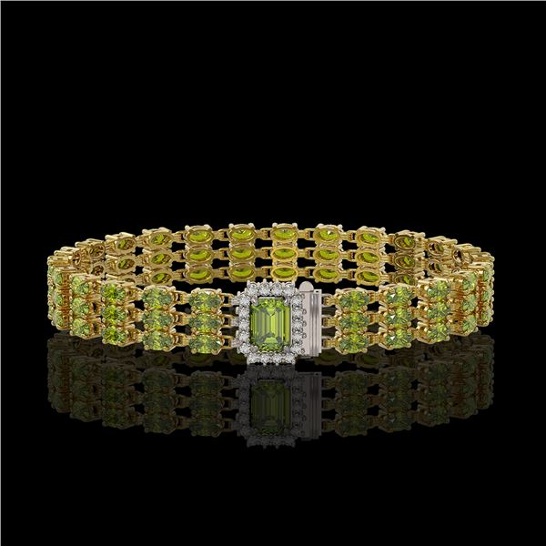 25.49 ctw Tourmaline & Diamond Bracelet 14K Yellow Gold - REF-318H2R