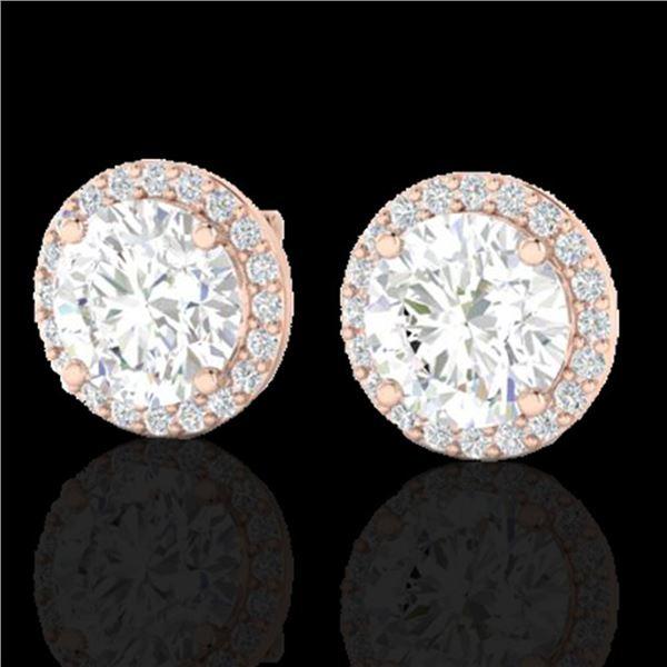 3.50 ctw Halo VS/SI Diamond Micro Pave Earrings 14k Rose Gold - REF-834W5H
