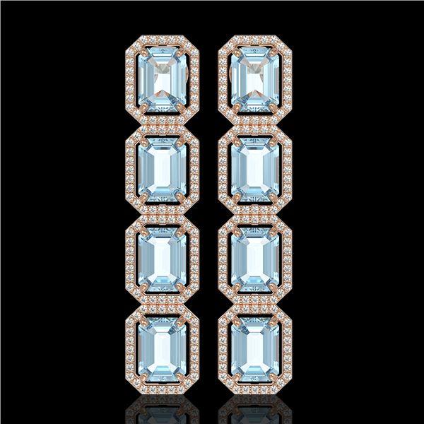 19.49 ctw Aquamarine & Diamond Micro Pave Halo Earrings 10k Rose Gold - REF-323R5K
