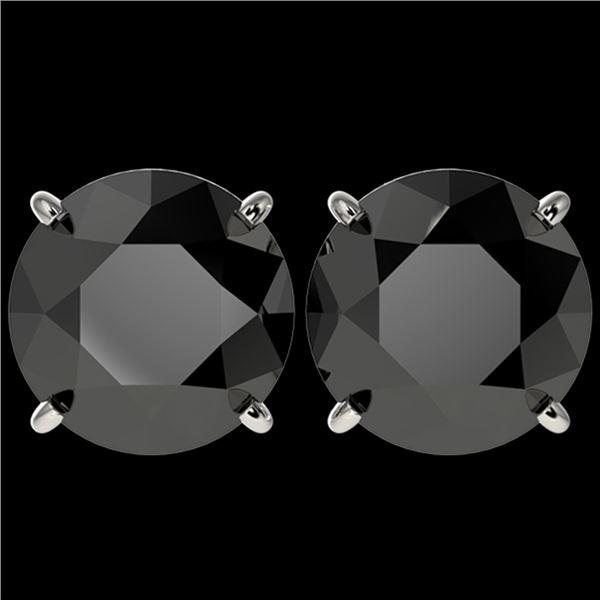 5.15 ctw Fancy Black Diamond Solitaire Stud Earrings 10k White Gold - REF-82M2G