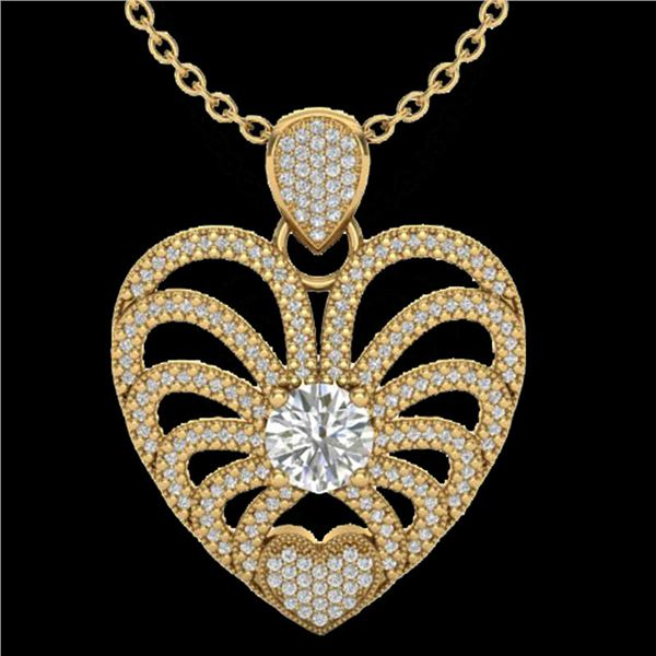3 ctw Micro Pave VS/SI Diamond Certified Heart Necklace 14k Yellow Gold - REF-477Y3X