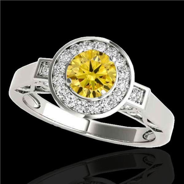 1.5 ctw Certified SI/I Fancy Intense Yellow Diamond Ring 10k White Gold - REF-204N5F