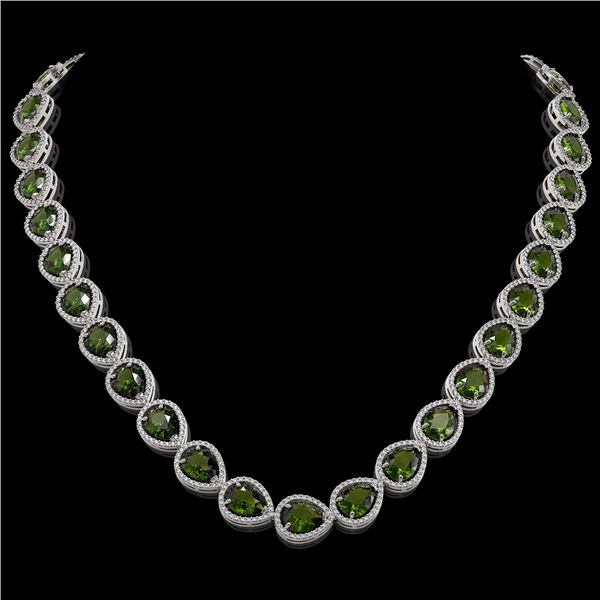 41.6 ctw Tourmaline & Diamond Micro Pave Halo Necklace 10k White Gold - REF-768R4K