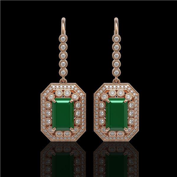 14.16 ctw Certified Emerald & Diamond Victorian Earrings 14K Rose Gold - REF-345F5M