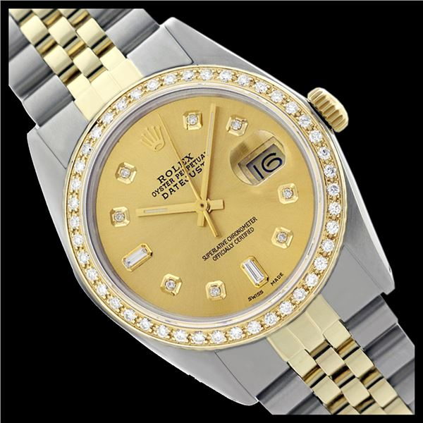 Rolex Ladies Two Tone 14K Gold/SS , Diamond Dial & Diamond Bezel, Sapphire Crystal