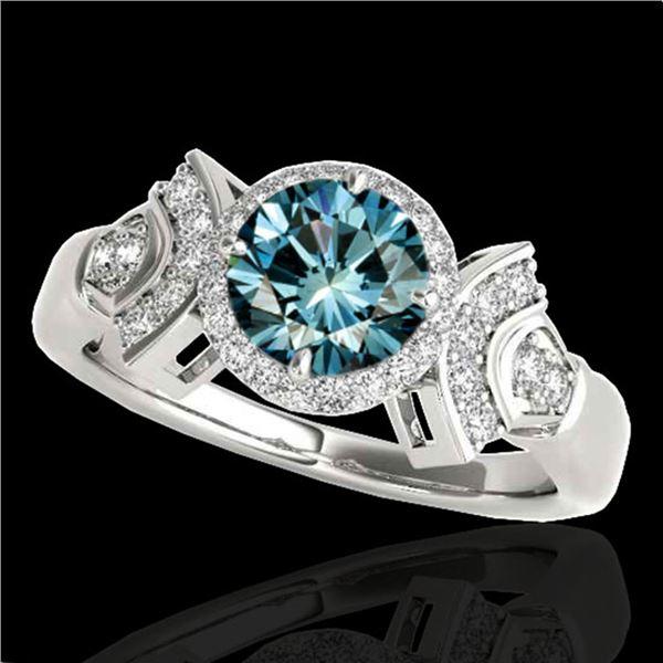 1.56 ctw SI Certified Fancy Blue Diamond Halo Ring 10k White Gold - REF-156R8K