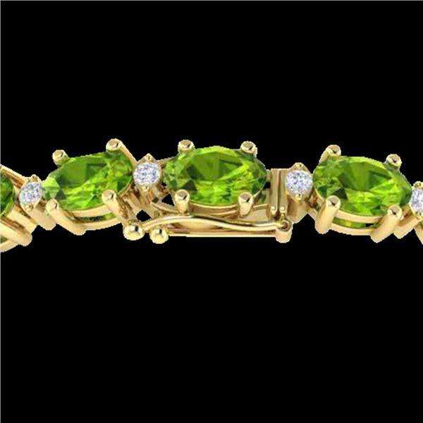 26.3 ctw Peridot & VS/SI Certified Diamond Bracelet GOLD 10k Yellow Gold - REF-174Y4X