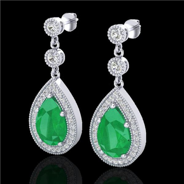 6 ctw Emerald & Micro Pave VS/SI Diamond Earrings 18k White Gold - REF-93K8Y