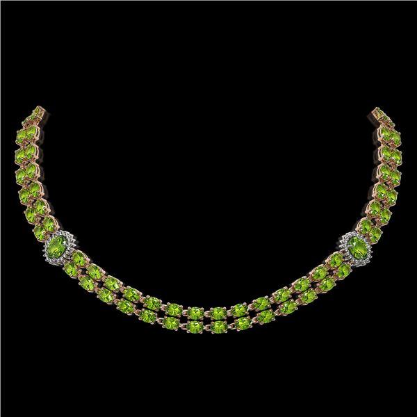 38.1 ctw Peridot & Diamond Necklace 14K Rose Gold - REF-454R5K