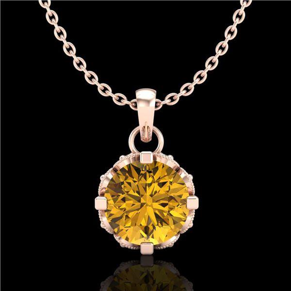 0.85 ctw Intense Fancy Yellow Diamond Art Deco Necklace 18k Rose Gold - REF-109Y3X