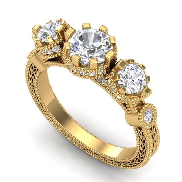 1.75 ctw VS/SI Diamond Solitaire Art Deco 3 Stone Ring 18k Yellow Gold - REF-309M3G