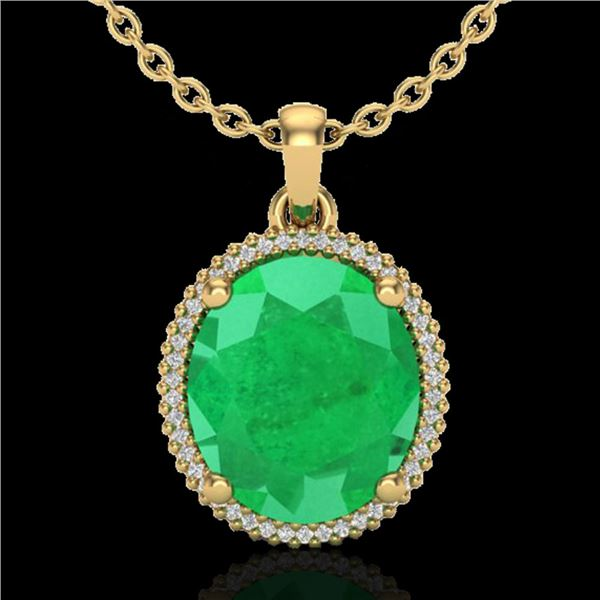 12 ctw Emerald & Micro Pave VS/SI Diamond Necklace 18k Yellow Gold - REF-140A9N