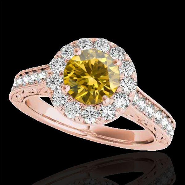 2.22 ctw Certified SI/I Fancy Intense Yellow Diamond Ring 10k Rose Gold - REF-340W9H