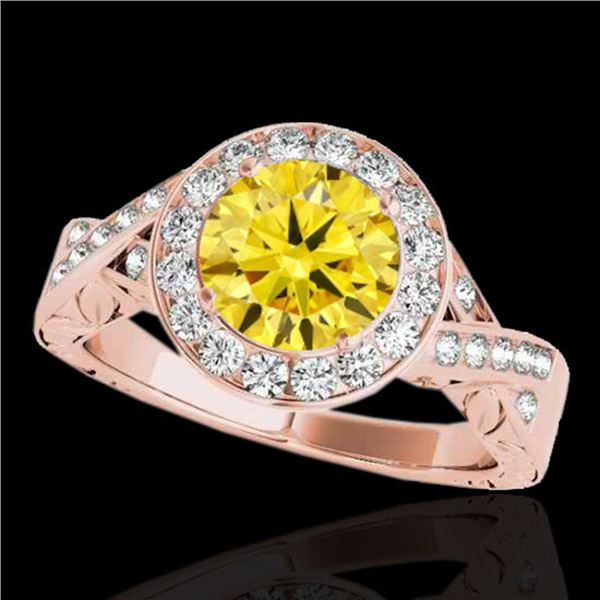 1.75 ctw Certified SI/I Fancy Intense Yellow Diamond Ring 10k Rose Gold - REF-327W3H