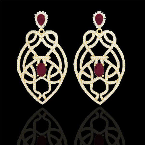 7 ctw Ruby & Micro VS/SI Diamond Heart Earrings Designer 14k Yellow Gold - REF-381K8Y