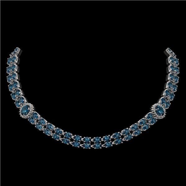 39.28 ctw London Topaz & Diamond Necklace 14K White Gold - REF-454H5R