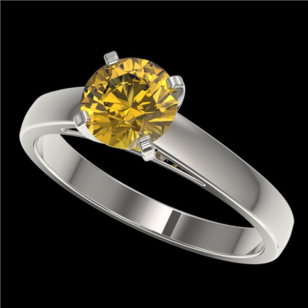 1.25 ctw Certified Intense Yellow Diamond Solitaire Ring 10k White Gold - REF-208H6R