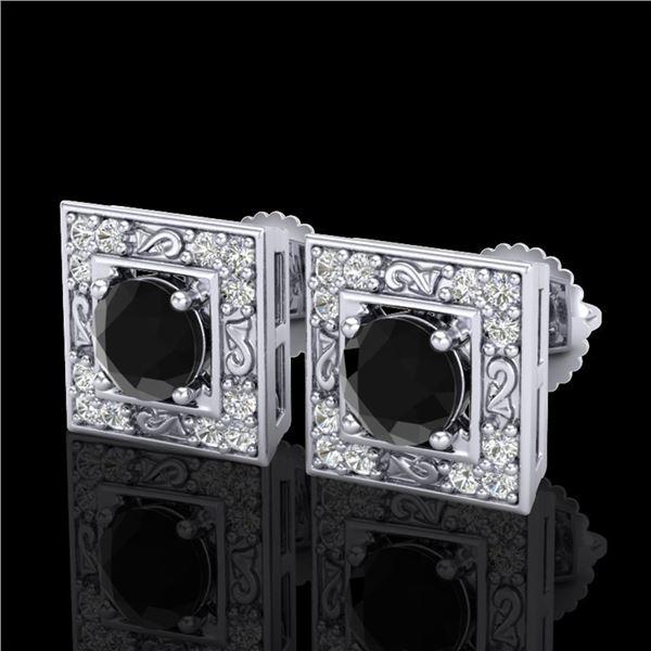 1.63 ctw Fancy Black Diamond Art Deco Stud Earrings 18k White Gold - REF-114K5Y