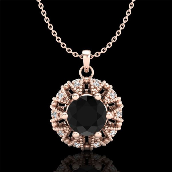1.2 ctw Fancy Black Diamond Art Deco Micro Pave Necklace 18k Rose Gold - REF-82F8M