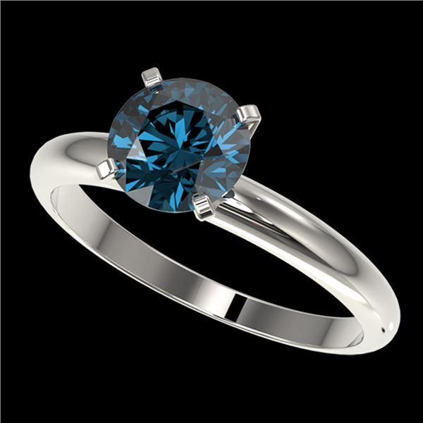 1.52 ctw Certified Intense Blue Diamond Engagment Ring 10k White Gold - REF-147A3N