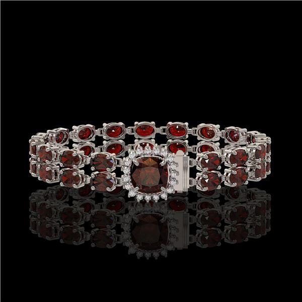 14.98 ctw Garnet & Diamond Bracelet 14K White Gold - REF-178F2M