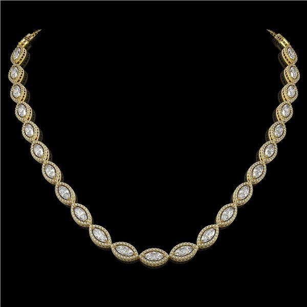 24.42 ctw Marquise Cut Diamond Micro Pave Necklace 18K Yellow Gold - REF-3359F5M