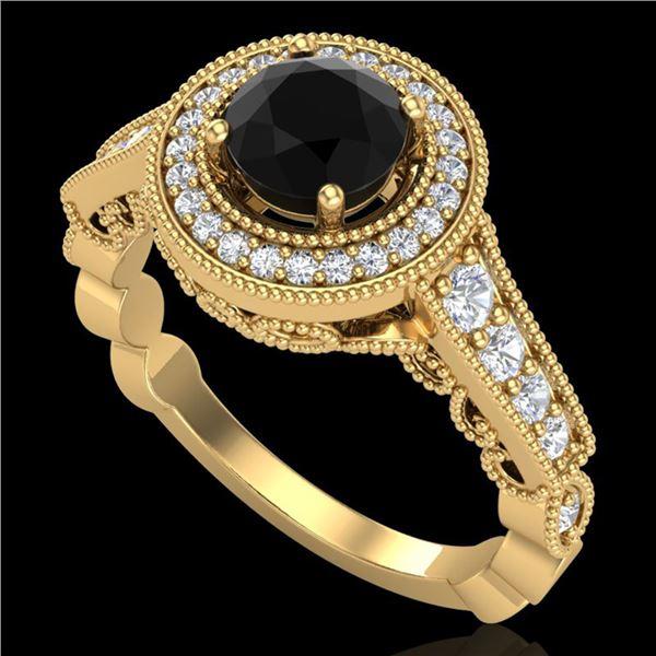 1.12 ctw Fancy Black Diamond Engagment Art Deco Ring 18k Yellow Gold - REF-125R5K