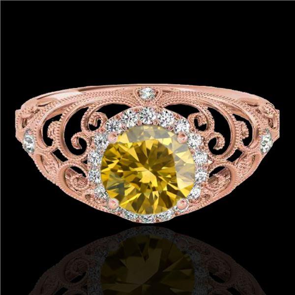 1.22 ctw Certified SI/I Fancy Intense Yellow Diamond Ring 10k Rose Gold - REF-177N3F