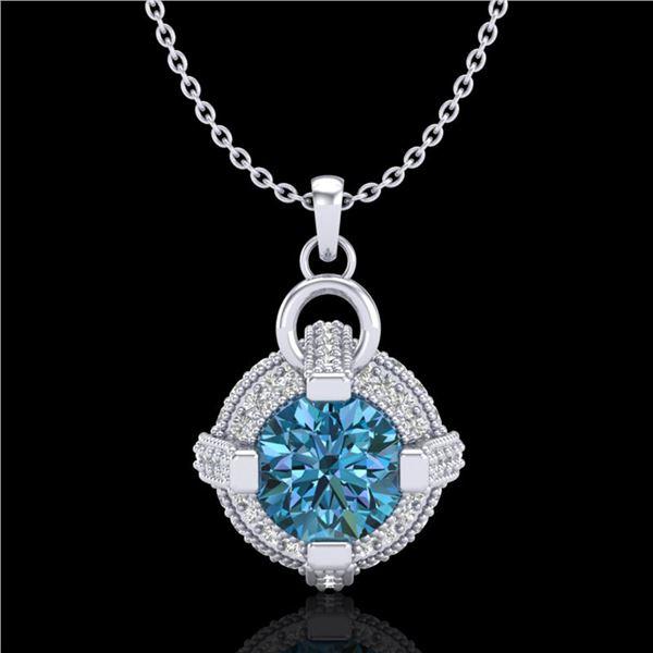1.57 ctw Fancy Intense Blue Diamond Micro Pave Necklace 18k White Gold - REF-154R5K