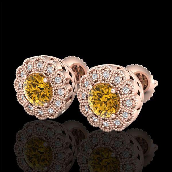 1.32 ctw Intense Fancy Yellow Diamond Art Deco Earrings 18k Rose Gold - REF-218X2A