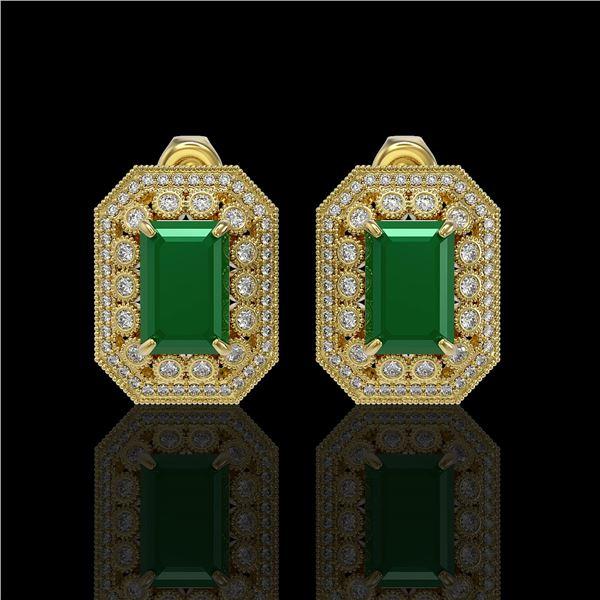 13.75 ctw Certified Emerald & Diamond Victorian Earrings 14K Yellow Gold - REF-266K4Y