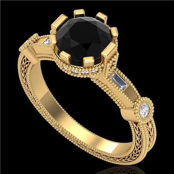 1.71 ctw Fancy Black Diamond Engagment Art Deco Ring 18k Yellow Gold - REF-123X6A