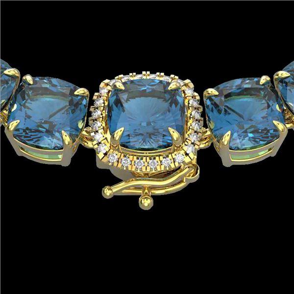 87 ctw London Blue Topaz & Diamond Micro Necklace 14k Yellow Gold - REF-317Y6X