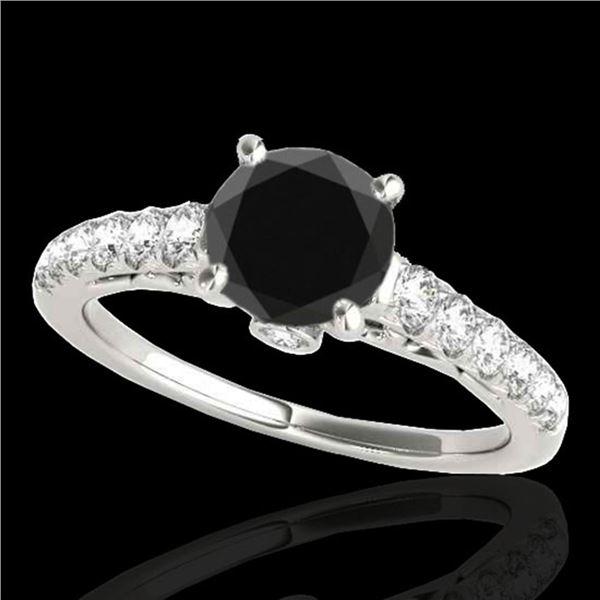 1.5 ctw Certified VS Black Diamond Solitaire Ring 10k White Gold - REF-61G4W